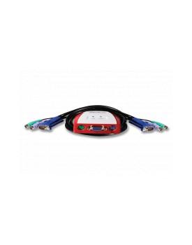 ENCORE - Switch KVM (teclado, video y mouse) USB de 2 Puertos con Conmutación Simple y Cable