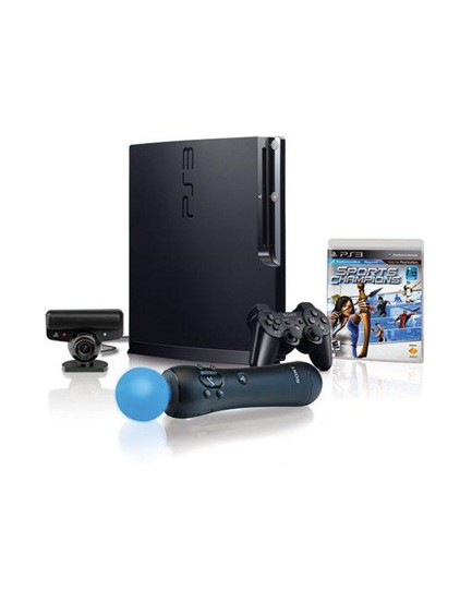 PLAY STATION 3 - Slim SONY + Kit Move 320 GB + Juego Champions Sports