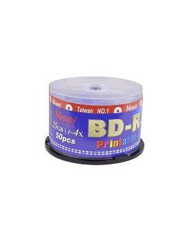 BLU-RAY BD-R MELODY DVD±RW DL 4x 25GB PRINTABLE CAKE 50 UNIDADES